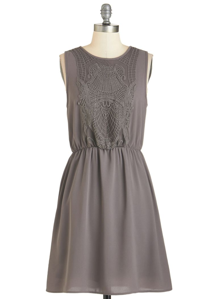 Estate to Remember Dress in Grey. The grounds of the majestic mansion youre visiting are simply exquisite - as stunning as the grey dress youre wearing! #grey #modcloth