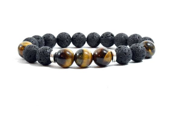 Men's Bracelet with Tiger Eye and Black by AlterDecoCoinsnBeads