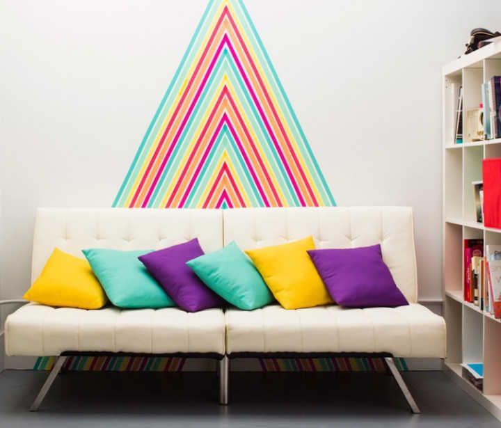 12 ideias para você decorar a sua casa com fita adesiva colorida