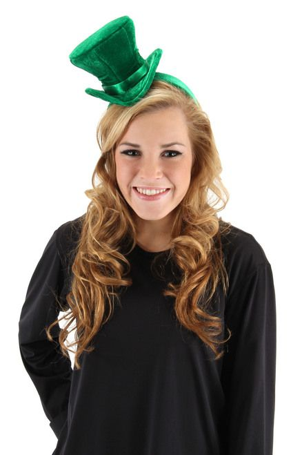 St. Patrick's Day Cocktail Green Tophat - Nothing will say your Irish or proud to be celebrating with this charming St. Patrick's Day top hat.  This wonderful St. Patrick's Day top hat comes attached to a thick velvet headband. It has ribbons attached to the end to tie behind the ears for a secure fit.. The slightly flared velvet hat is attached to the headband and features a ribbon band.   #stpatrick #yyc #costume #hat #classic