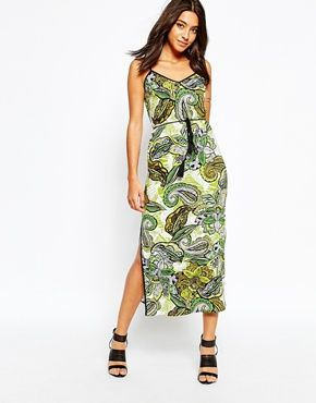 Warehouse Floral Printed Midi Dress with Side Split