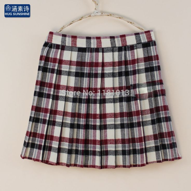 England style JK high waist pleated skirt Grey-red Plaid striped classic skirt japanese school uniform girls cosplay skirt
