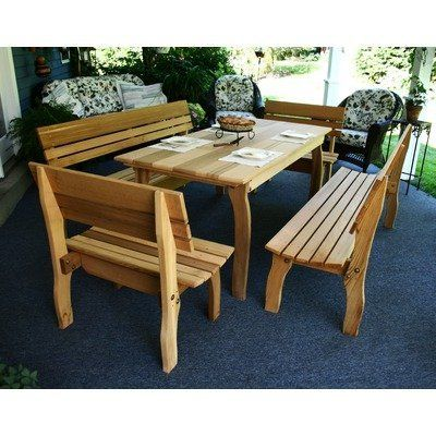"""Cedar Chickadee 5 Piece Dining Set Table Size: 94"""", Finish: White Stain by Creekvine Designs. $2420.67. ELY94CTT4BBCVD-WS Table Size: 94"""", Finish: White Stain Features: -Material: Western red cedar.-Zinc plated steel.-Option of 2'' umbrella hole.-Made in USA.-Table weight capacity: 135 lbs.-Bench weight capacity: 690 lbs. Includes: -Set includes table, (2) 32'' L-backed benches and (2) backed benches that match table length. Dimensions: -Seat and back dimensions: 19'' H x 16''..."""