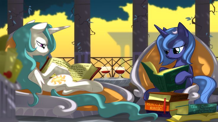 Knowledge is power! A quiet moment with Luna and Celestia.