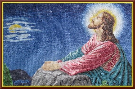 PICTURE Jesus' prayer cross-stitch picture   OBRAZ  by Anetmoda