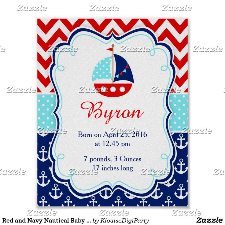 Red and Navy Nautical Baby Nursery Wall Art