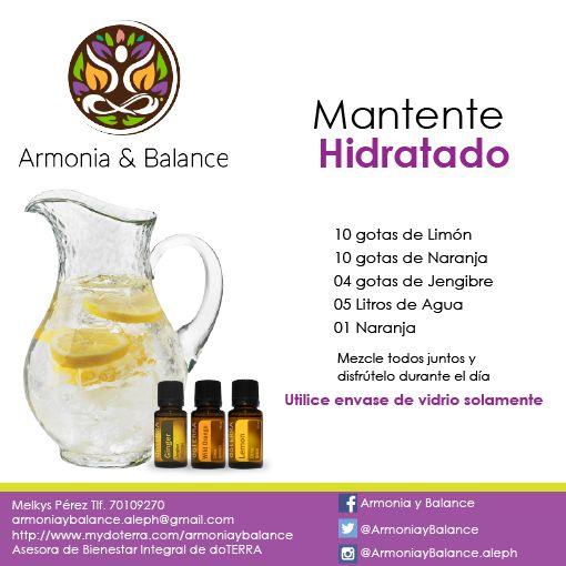 La hidratación es esencial, así que dale sabor a tu agua con aceites esenciales y mantente hidratado!