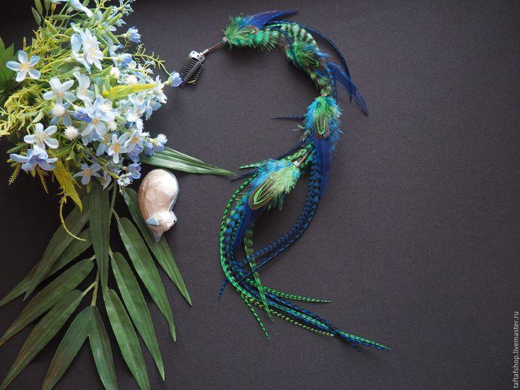 Весенняя пора - сине-зелёные перья для волос на съемной заколке - зеленый, чёрно-белый