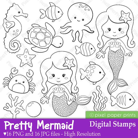 Pretty Mermaid  Digital Stamps by pixelpaperprints on Etsy, $5.00