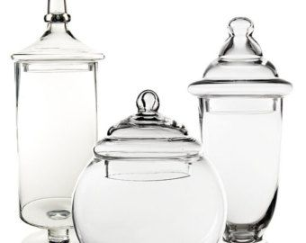 Apothecary Jar Glass Candy Buffet Jar Set of 3 pcs by ModernVase