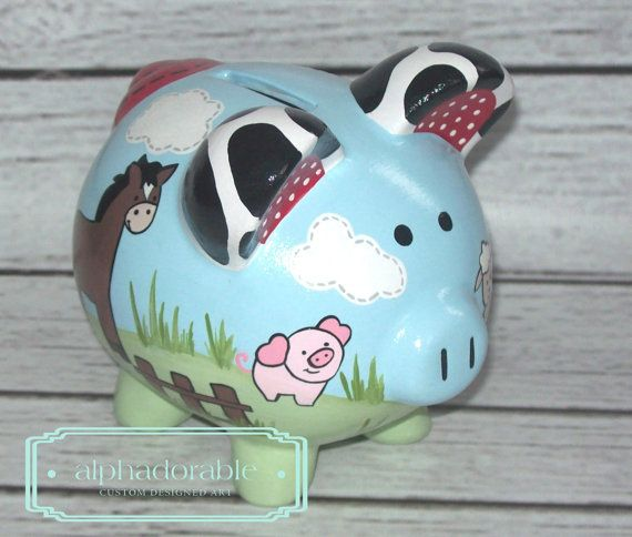 SMALL artisan hand painted ceramic personalized by Alphadorable, $52.00