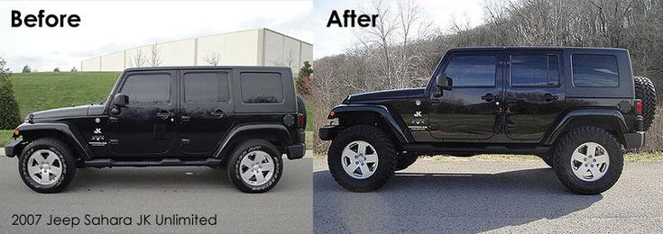 "2.5"" lift, 35"" tires on stock 18"" rims. Jeep Wrangler Sahara Unlimited"