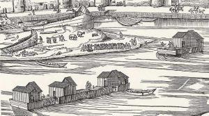 Moulins-bateaux sur le Rhin, 1531. Jusqu'à récemment, les moulins-bateaux, aussi connus sous le nom de moulins flottants, ne suscitaient que de la curiosité, une simple note de bas de page dans la longue histoire de l'énergie hydraulique. Aujourd'hui quelques historiens pensent qu'ils furent aussi répandus que les moulins à vent – bien qu'il faille remarquer que les moulins à vent à l'inverse de la croyance populaire furent moins courants que les moulins à eau.