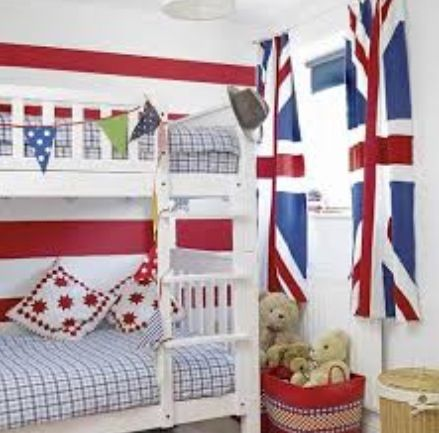 Go TEAM GB! The best sort of time for this room is Olympics, football, or the common wealth games. Tween/teenage room for girls or slight different colours for boys.