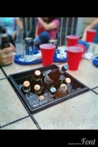 beer chiller - simply remove the center tile from the table and replace with a matching sized flower pot!