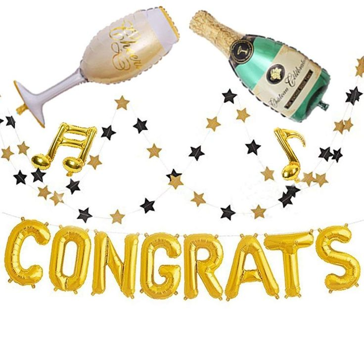 Champagne Congrats Grad Party Decor Balloon Aluminum Balloon for Graduation - 16 Inch Golden Foil GRADUATION PARTY - CO18CL4K0IU