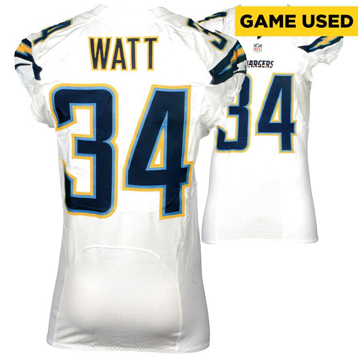 Derek Watt San Diego Chargers Fanatics Authentic Game-Used #34 White Jersey vs. Houston Texans on November 27, 2016 - $749.99