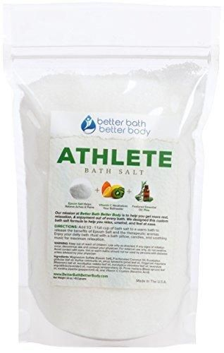 Athlete Bath Salt 1 Pound - Epsom Salt Bath Soak With Pine & Eucalyptus Essential Oils Plus Vitamin C - All Natural Ingredients No Perfumes No Dyes - Post Workout Soak For Tired Sore Muscles