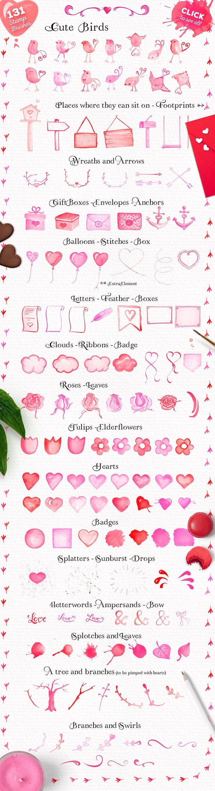 Cute Valentine Watercolor Brush Set by Doris Nawratil on @creativemarket