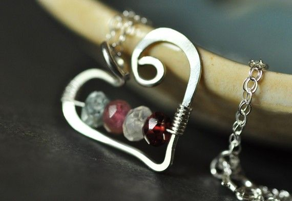 If you missed this one for Valentine's Day, save it as a Mother's Day gift idea -- custom mother's family birthstone necklace with genuine gemstones from Mu-Yin Jewelry