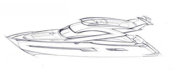 Motorboat sketches | Tony Castro Yacht Design
