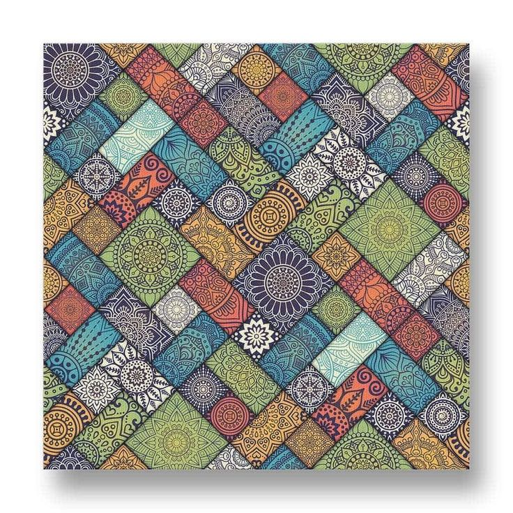 Diagonal Mandala Texture Canvas Print.  This canvas print has a diagonally-arranged mosaic of floral patterns.  The yellow, blue, green and red patterns create a soft impression, yet enough contrast to create a very interesting artwork.