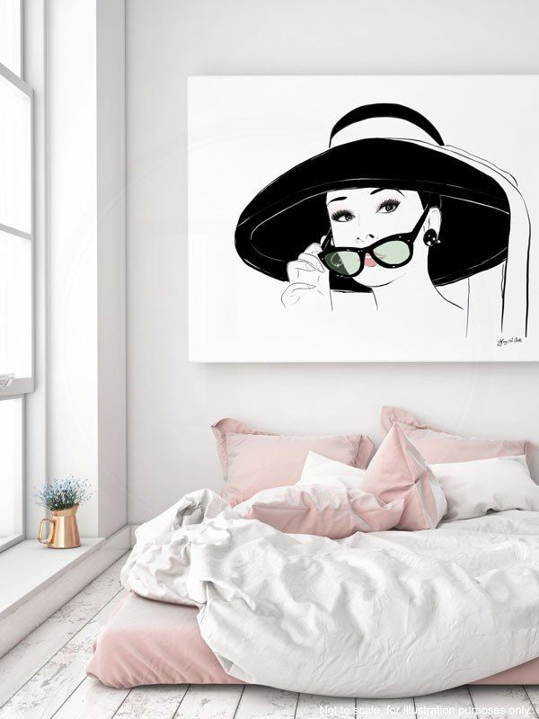 """"""" Audrey Hepburn as Holly Golightly """", from Breakfast at Tiffany's as she meets Paul's 'decorator' friend for the first time.  Audrey Hepburn is always so poised and captivating no matter what scene she's in.  Illustration Collection  Breakfast at Tiffany's"""