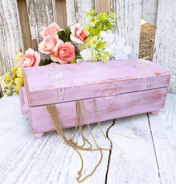 shabby chic box purple painted and distressed storage