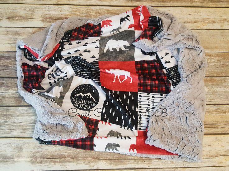Minky Baby Blanket- Adventure Boy Blanket- Lumberjack Baby Blanket- Baby Boy Blanket- Woodland Nursery- Baby Blanket by CraftCreationsbyEB on Etsy