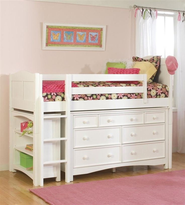 Wakefield Cottage Low Twin Loft Bed w Dresser & Bookcase in White