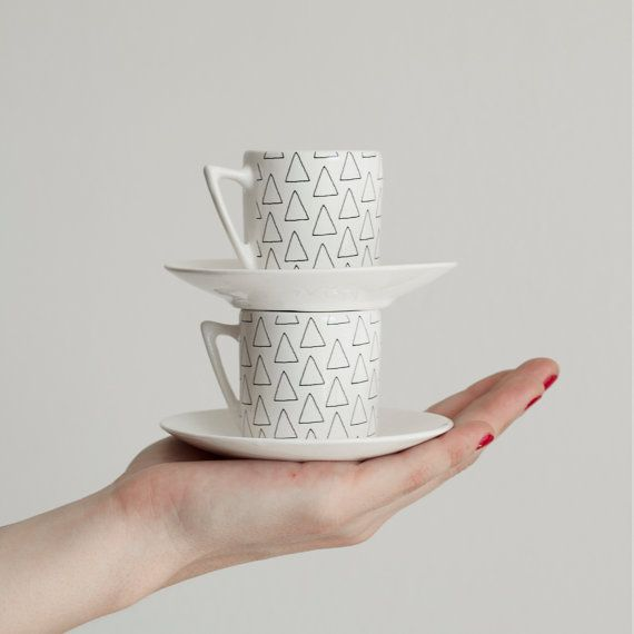 Enjoy an espresso or decorate your favourite table with our Handmade Ceramic Mini Mug Set. The design is transfered to the ceramic by silkscreen.