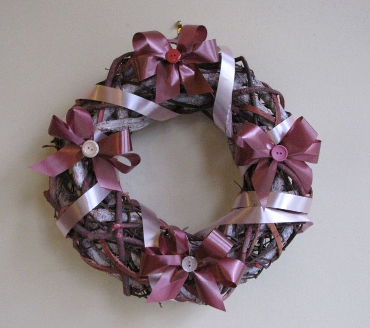 Indoor Pink buttons & bows natural twig wreath by HostasAndGarden on Etsy