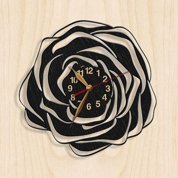 Wall Clock, Flower, Ornament, Rose Wooden Black Wall Art Decor, Wood Clock 12inch(30cm), Modern, Home decor, Gift Idea