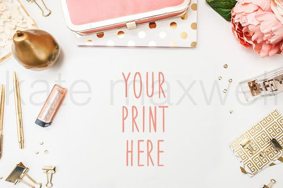 Styled White Desk w/ Pink Peonies Gold Polka Dot by KateMaxShop