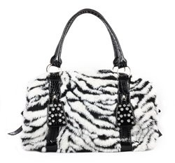$49.99 Amazon.com: HOT! Zebra Faux Fur & Crystal Accented Animal Print Large bag by Jersey Bling: Clothing