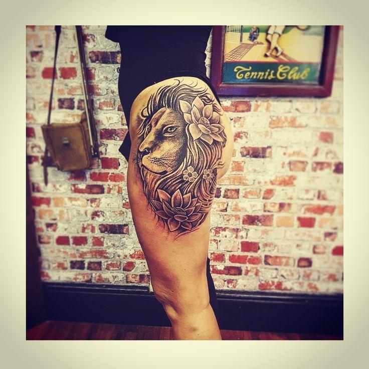 17 Terbaik ide tentang Lion Thigh Tattoo di Pinterest | Tato singa dan ...