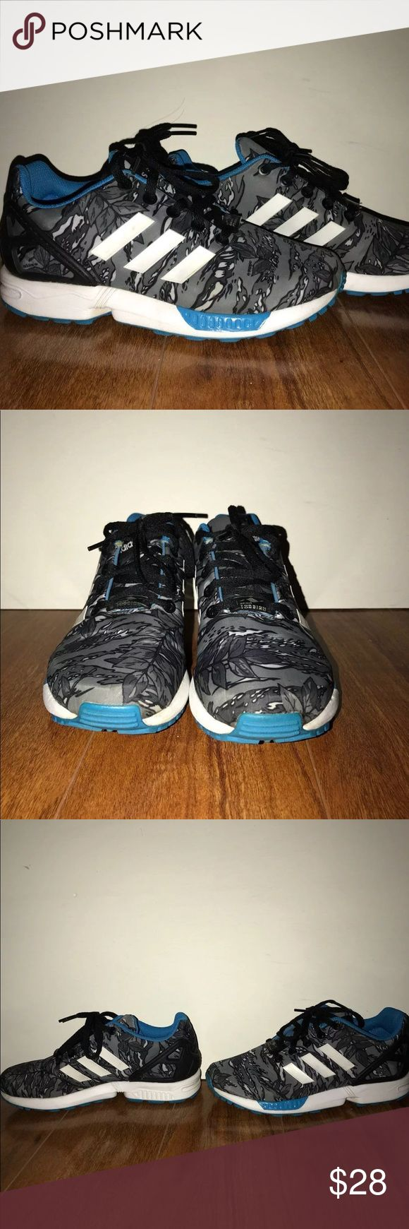 Adidas Sneakers Adidas torsion (zx flux) sneakers  Gray and blue plant print Super comfortable  Pretty good condition   (I am a size 5 but these are a 4 in boys and fit well) adidas Shoes Athletic Shoes