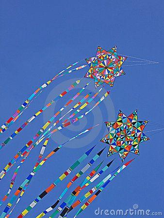 Colorful Kites Riding The Breeze Stock Photos - Image: 21004553