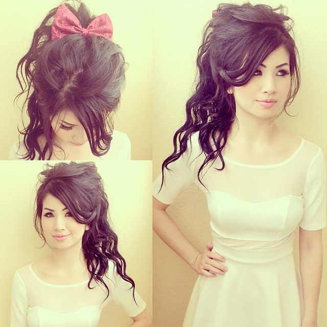 Curled ponytail with bow super cute