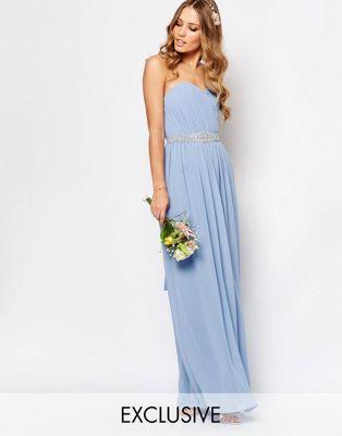 TFNC WEDDING - Robe longue bandeau en mousseline