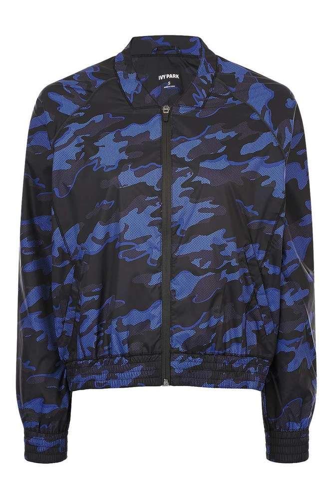 Topshop Ivy Park Navy Blue Camo Bomber Jacket - Small / UK 10 - RRP £60
