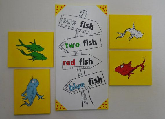 one fish two fish nursery wall art canvas painting 5 piece. Black Bedroom Furniture Sets. Home Design Ideas