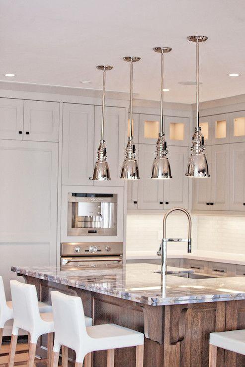 Gray  Walnut kitchen design details; grey agate island countertop; BM Museum Piece gray cabinet #paint