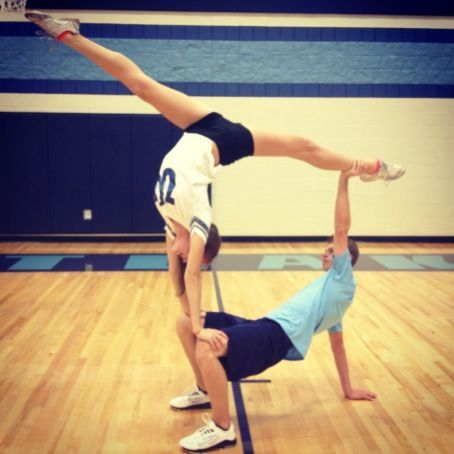 easy to people stunts for kids   Cheerleader 2 person stunts. Me and hunter(:
