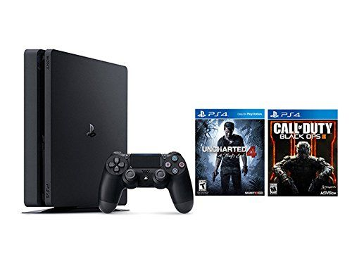 Includes a new slim 500GB PlayStation®4 system, a matching DualShock 4 Wireless Controller, and Uncharted 4: A Thief's End on Blu-ray dis and Call of Duty: Black Ops III disc Play online with your friends, get free games, save games online and more with PlayStation Plus membership (sold separately). Connect with your friends to broadcast and celebrate your epic moments at the press of the Share button to Twitch, YouTube, Facebook and Twitter.