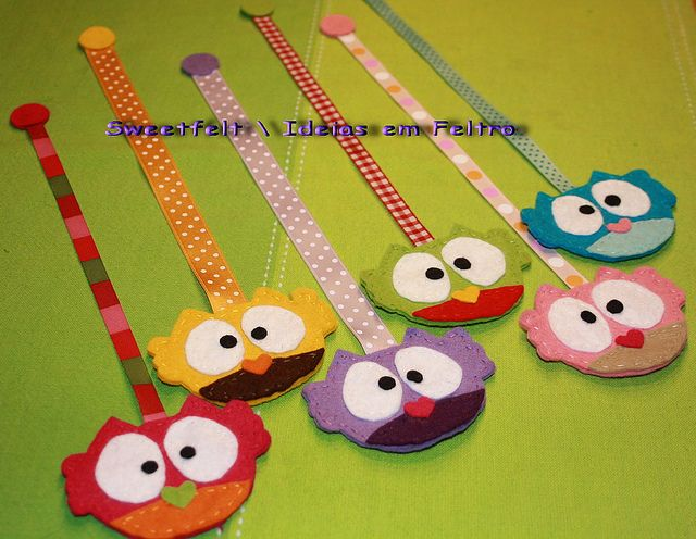 felt owl bookmarks