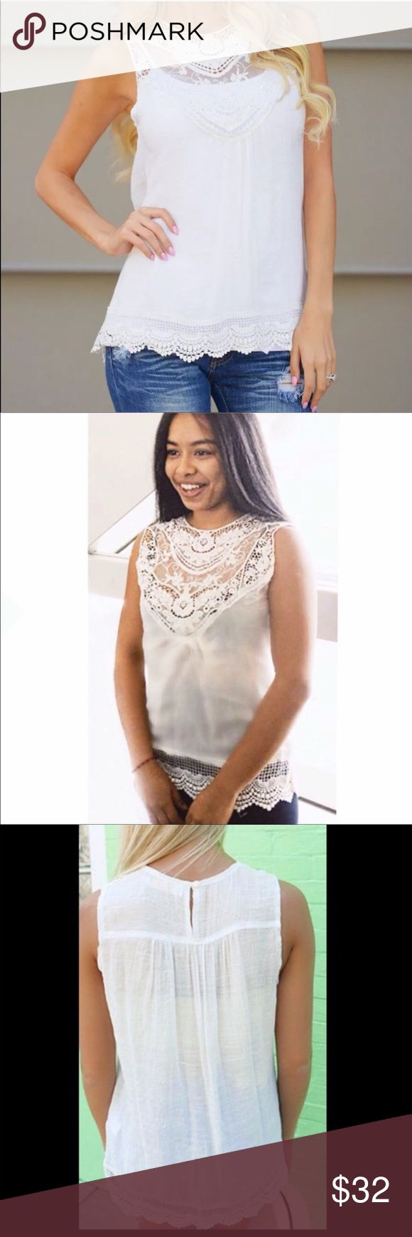 White Lace Tank Tunic, Perfect for Summer White lace and semi sheer tank-tunic with great detailed hem.  Please see cover pic for the look with a camisole- lots of beautiful lace!  Picture 2 is of a model wearing the top alone, just a bra- even more lace shows.  Great with jeans, shorts, the beach, or dress it up with the right jewelry.  This is a ⭐️⭐️⭐️⭐️⭐️favorite for my buyers and it will be a go-to piece for you! (A5) Lalea Tops