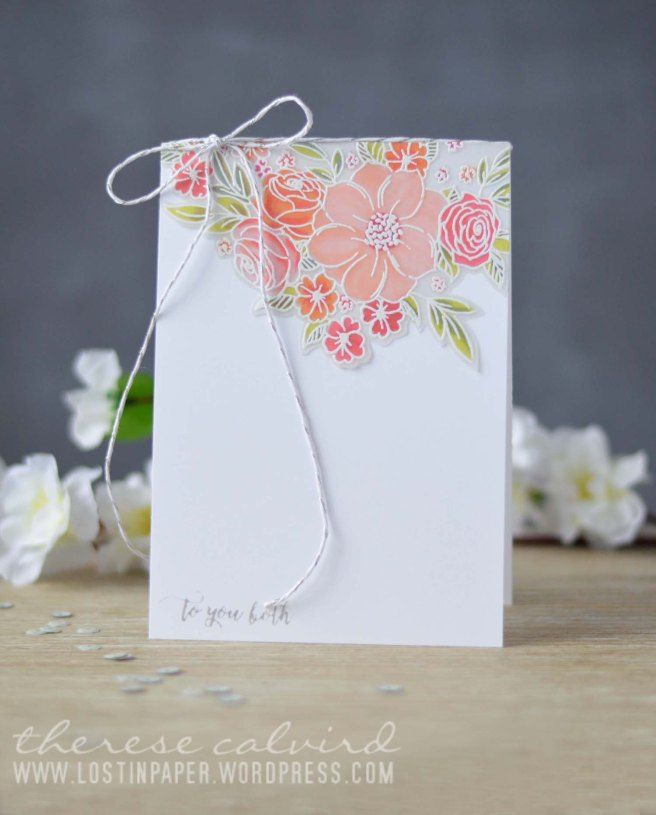 Lostinpaper - Penny Black - Flower Cascade - Happy Snippets (video) (1) Colour vellum from the back