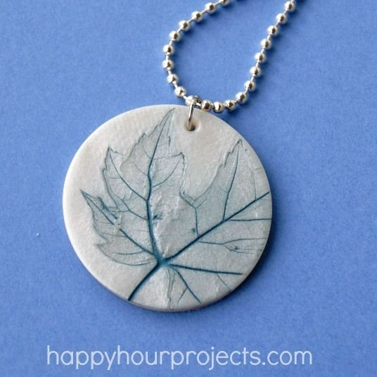 DIY Easy Polymer Clay Leaf Imprinted Pendant from Happy Hour Projects here. What is great about polymer clay is you can imprint any texture ...