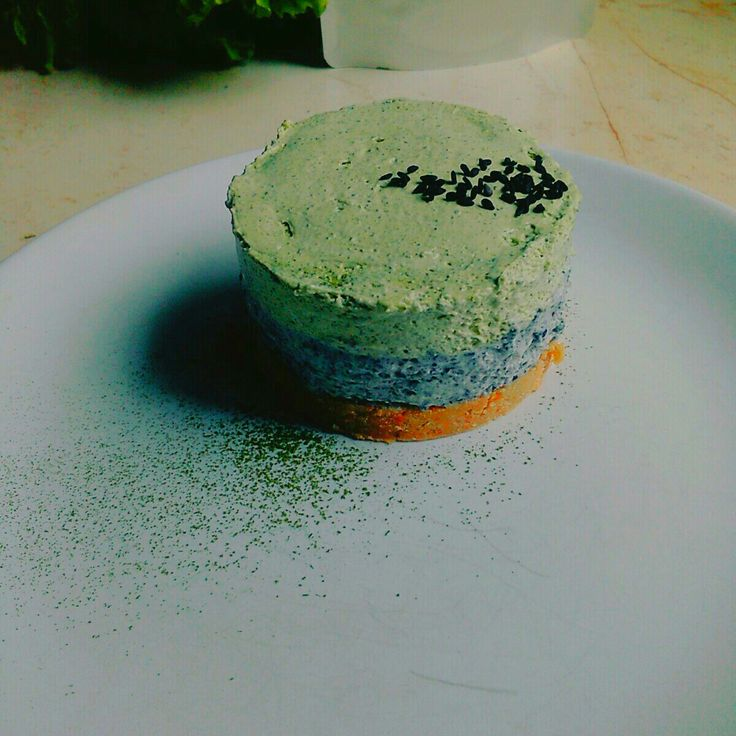 Matcha and black sesame cheesecake